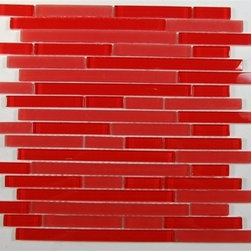 Zen Ferrari Red Polished Random Bricks Glass Tiles, Sample - Random Bricks Pattern Zen Ferrari Red Polished Mesh-Mounted Glass Mosaic Tile is a great way to enhance your decor with a traditional aesthetic touch. This Mosaic Tile is constructed from durable, impervious Glass material, comes in a smooth, unglazed finish and is suitable for installation on floors, walls and countertops in commercial and residential spaces such as bathrooms and kitchens.