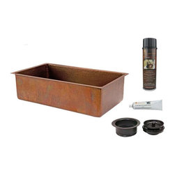 Premier Copper Products - KSB33199 Copper Sink w/Drain Package - 33 Inch Antique Hammered Copper Kitchen Single Basin Sink with Matching Drain and Accessories.