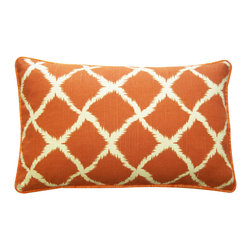 JITI - Small Fishnet Orange Cotton Pillow - Fishnet is not just for lingerie anymore. Enjoy a fun fishnet print on this handsome orange accent pillow filled with a feather and down blend insert.