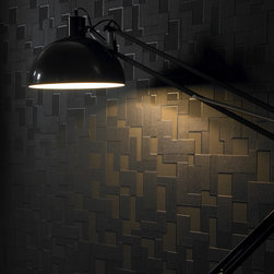 Checker black - This is our Nonwoven Paste-the-Wall version of this pattern making it easier to Hang and Remove! Taking its inspiration from modern architecture and a mix of contrasting textures and surfaces. Checker features multi-layering textures and shadow for an exaggerated 3D geometric effect.