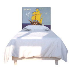 NOYO - Ricard Sea Headboard, Twin - Set sail to the land of nod with a whole new idea in bedroom decor. In this high-concept headboard, a cedar frame takes a machine-washable slipcover you can change at will. Tonight, a mighty ship; next week, whatever you dare to dream of.