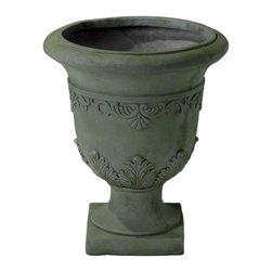 Christopher Knight Home - Christopher Knight Home Moroccan 20-inch Grey with Green Moss Urn Planter - This urn-style planter is made of sturdy quartz stone in a neutral gray-green shade perfect for either indoor or outdoor use. Fill it with your favorite decorative plant or let the classic color and detailed embossing make a statement all on its own.
