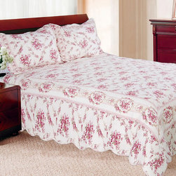 None - Shabby Chic Vintage Rose Cotton Quilt Set - Give your bedroom a classic look with this rose-print quilt set from Shabby Chic. The rose pattern print is made up of deep rose and pink-toned burgundy colors that fits well with the bright wood finishes used on many traditional furnishings.