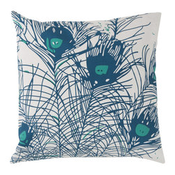 Surya - Peacock Feathers, Teal Pillow - Florence Broadhurst gives a new modern twist to pillows with this unique feather design. Sure to add a fun touch to any room, these pillows are 100% cotton and include a down insert.