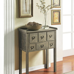 Altra - Altra Six Drawer Accent Console Table - Constructed of solid wood with a distressed grey finish, this accent table is a great way to add storage and style to any room. This 6-drawer accent table is perfect for entry ways, hallways or the home office.