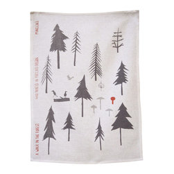 makelike design - Tea Towel - A Walk In The Forest - This three-color tea towel is hand-screen-printed using water-based inks on 100% European linen.