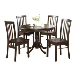 "Wooden Imports Furniture - Hartland 42"" Round Table Set, Walnut Finish - Includes round table and 4 wooden chairs. 100% Solid Parawood. Environmentally conscious. Table: 42 in. Dia. x 30 in. H (45 lbs.). Chair: 17 in. W x 17 in. D x 37.50 in. H (18.5 lbs.)"