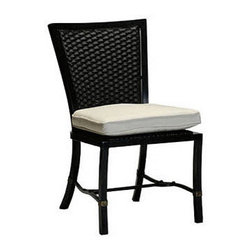 "Frontgate - Equestrian Dining Outdoor Side Chair - Extruded aluminum frame with cast-aluminum accents. High-quality resin weave has a burnished leather look. Dream cushion&#153 provides supreme comfort with its construction using high density premier foam crowned with a ""pillow top"" of blown fiber channels. The Equestrian Dining Side Chair by Summer Classics&reg will blend perfectly with horse country decor as well as add unique styling to any setting. Features equestrian-style detailing such as cast aluminum stirrup detailing and bits on the backs. Dream cushion provides supreme comfort with its construction using high density premier foam crowned with a ""pillow top"" of blown fiber channels. Part of the Equestrian Collection by Summer Classics&reg. .  . Dream cushion provides supreme comfort with its construction using high density premier foam crowned with a ""pillow top"" of blown fiber channels. Note: Due to the custom-made nature of the cushions, any fabric changes must be made within 48 hours of ordering."