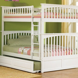 Columbia Bunk Full bed full/full in White by Atlantic Furniture - The Columbia Bunk Bed is the perfect mission-style bunk bed for your children's bedroom. Available in twin-over-twin, twin-over-full, or twin-over-futon designs with railings on the top bunk, the sturdy Columbia Bunk Bed is constructed of solid hardwood. Add optional under-bed storage drawers or an optional trundle unit (neither option works with twin-over-futon style) under the bed to provide even more convenient space. The bunk bed comes with two modesty panels, which can be attached to both ends of the bunk bed to give the Columbia Bunk Bed a more grounded look. Available in Natural Maple, Antique Walnut, and White finishes, the Columbia Bunk Bed is sure to become your child's favorite sleepy-time fort.