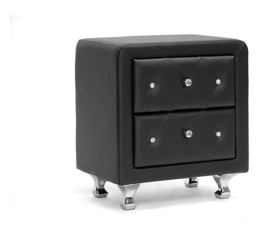 Baxton Studio - Baxton Studio Stella Crystal Tufted Black Upholstered Modern Nightstand - Stella is a glamorous designer nightstand that takes it up a notch with allover faux crystal button tufting. Crystal lookalike buttons adorn the front of the bedside table's two drawers and truly glimmer with even the slightest bit of light. Black faux leather is accented by chrome-plated metal legs. This Malaysian-made modern nightstand is built with a plywood and hardwood frame, which is padded with foam before being upholstered. The designer nightstand, which requires minor assembly, is also available in white (sold separately). Keep an eye out for the matching bed, floor mirror, and bed-end bench ( also sold separately). To clean, wipe with a damp cloth.