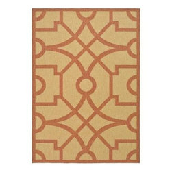 """Martha Stewart Living - Martha Stewart Area Rug: Fretwork Sand/Rust 5' 3"""" x 7' 7"""" Indoor / Outdoor - Shop for Flooring at The Home Depot. Designed to work equally well in indoor and outdoor spaces, the durable and practical Fretwork recreates the look of natural fiber sisal rugs, but is actually machine-woven in Belgium of 100-percent enhanced polypropylene for UV protection and mildew- and mold-resistance."""