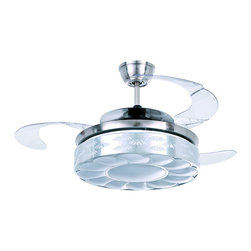 ParrotUncle - Modern Style Satin Nickel LED Ceiling Fan with Sunflower Pattern Shade - Graceful and beautiful, this ceiling fan will add an artistic flavor to your home. It features satin nickel finish with acrylic blades which can be folded into the body. With a sunflower pattern shade and an energy efficient bulb, this great looking fan also includes a remote control for easy operation. Wise choice for your living room, dining room and more.