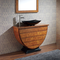 """40"""" Legacy Vessel Sink Vanity - Maple Burl - No Faucet Holes - This unique vanity is perfect for your contemporary home. This 40"""" Legacy Vanity is designed to be used with a vessel sink and features four functional drawers for ample storage."""