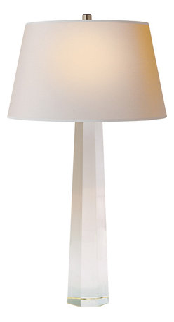 Large Octagonal Spire Table Lamp - Add a pop of chic style to your room with a designer lamp. The base brings a subtle touch of glamour with a crystal octagonal shape, while the natural paper shade keeps the look balanced. It's the perfect addition to your living room.