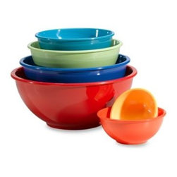 Oggi - Melamine 6-Piece Mixing Bowl Set - Not only is this mixing bowl set colorful, it also will come in handy in the kitchen. There are bowls in various sizes ranging from a large size for salad to a small one for dips.