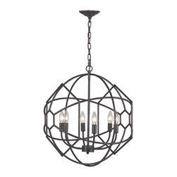 Sterling Industries - Sterling Industries 140-005 Strathroy 6 Light Chandeliers in Aged Bronze - Strathroy-6 Light Rustic Iron Orb Chandelier With Honeycomb Metal Work