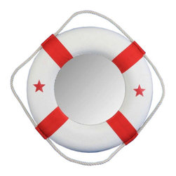 "Handcrafted Model Ships - Red Lifering Mirror 15"" - Decorative Life Ring - Nautical themed lifering mirrors are a great addition to any room, office, or boat, and are excellent for completing the nautical mood that you can only get from sailing the seas. The mirror is enveloped by the lightweight styrofoam lifering which is accented with authentic hand stitched red canvas straps. A bright new grab rope surrounds the lifering and makes hanging and displaying the Lifering Mirror a breeze. The classic colors of the Lifering Mirror are perfect for recreating a seagoing experience in the comfort of your own home."