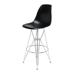 Kathy Kuo Home - Eiffel Reproduction Black Plastic Chrome Frame Modern Bar Stool - Pair - Join the party with this pair of eye-catching chrome bar stools. Mixing modern with Industrial, this stylish set has highly polished black plastic seats, silver legs and steel support rods. Slim, yet sturdy, these Eiffel-inspired bar stools serve up casual comfort anytime of day.