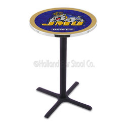 Holland Bar Stool - Holland Bar Stool L211 - Black Wrinkle James Madison Pub Table - L211 - Black Wrinkle James Madison Pub Table belongs to College Collection by Holland Bar Stool Made for the ultimate sports fan, impress your buddies with this knockout from Holland Bar Stool. This L211 James Madison table with cross base provides a commercial quality piece to for your Man Cave. You can't find a higher quality logo table on the market. The plating grade steel used to build the frame ensures it will withstand the abuse of the rowdiest of friends for years to come. The structure is powder-coated black wrinkle to ensure a rich, sleek, long lasting finish. If you're finishing your bar or game room, do it right with a table from Holland Bar Stool. Pub Table (1)