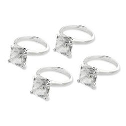 Cuisinox - Napkin Ring, Diamond Colors - Set of 4 - Compliment any table setting with a imitation diamond on a stainless steel napkin ring. The diamond accent glitters with style and delight. Priced and sold in sets of 4.