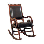 Coaster - Black Traditional Rocker - Traditional style by cast leather rocking chair with carved accents and nail head trim. Simple assembly is required.