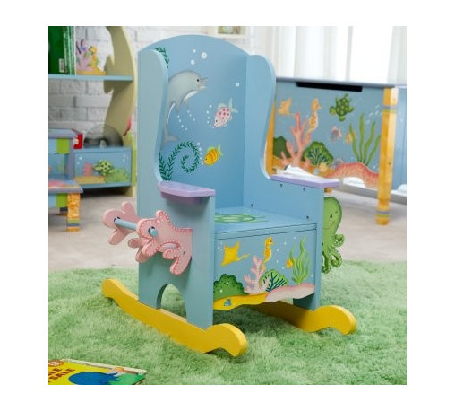 Teamson Design Under the Sea Potty Chair - Learning how to go potty like a big kid can be daunting, but sitting in the Teamson Design Under the Sea Potty Chair is so much fun, your child will hardly know he or she is learning something new. The built-in toilet paper holder and magazine rack will keep him or her busy, and the chair's wings and rocking motion are soothing and secure while they learn. Hand-painted with delicate sea creatures and underwater flora, the chair is an adventure in itself. The magazine rack is partly made of hand-carved octopi, and the toilet paper roll is flanked by hand-carved, hand-painted coral. When your big kid learns to go potty in the big potty chair, this one becomes a regular rocker. Made of strong MDF board, the rocker will provide many years of reading pleasure. Some assembly is required. Can you find the seahorse?The Benefits of MDF/Engineered WoodMDF is made of wood fibers and is highly compressed with adhesive. It's denser than particle board, and the surface is very smooth. MDF board is extremely strong and resistant to warping, and it's easy to cut, drill, and machine. It is used in the manufacture of furniture and accessories for schools, homes and offices. MDF is so strong that it's included in the construction of desks, high quality marker boards, work surfaces, pillars, and other products. MDF often is covered by laminates or veneers. It provides a sturdy substrate that supports the surface material and increases its longevity. MDF can be painted, stained, and/or grain-stamped to look like hard woods. Best of all, MDF saves money and can be good for the environment. By using recovered wood fiber, MDF contributes to reducing landfills, slowing deforestation and preserving habitats. Overall, MDF is an excellent value and a fine furniture material.About Teamson DesignBased in Edgewoood, N.Y., Teamson Design Corporation is a wholesale gift and furniture company that specializes in handmade and hand-painted kid-themed furniture collections and occasional home accents. In business since 1997, Teamson continues to inspire homes with creative and colorful furniture.