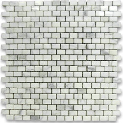 "Stone Center Corp - Calacatta Gold Marble Mini Brick Mosaic Tile 5/8x3/4 Polished - Calacatta gold marble 5/8"" x 3/4"" brick pieces mounted on 12"" x 12"" sturdy mesh tile sheet"