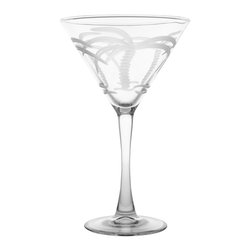 Rolf Glass - Palm Tree Martini Glass, Clear, 7.5x4.75, Set of 4 - Want to get away? The Palm Tree collection lets you enjoy the playfulness of Miami while suffering the winters of Detroit. This beautifully engraved design will sweep you away to the tropics. Your vacation can start right now with just a sip and a setting. Indulgence is yours!   Made in USA.