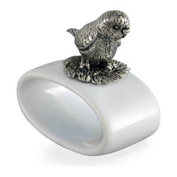 Macaw Stoneware Napkin Ring - Each - Unusual napkin rings are sometimes all it takes for a table to feel personal and memorable, and the Macaw Stoneware Napkin Ring is a superb selection for that purpose. A beautifully-modeled and lifelike bird perches atop this oval ring of white ceramic, the contrast of its antique pewter body with the pale stoneware a classic neutral addition to your look.