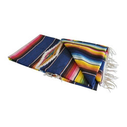 "1950's Vintage Mexican Serape Blanket - For modern western decor, there is nothing better to give that hint of vintage that the vibrant colors of vintage Mexican woven pieces. Deep, rich colors speak to the vintage time period of this blanket. There is an Oja de Dios, or Eye of God, in the center and it has hand knotted fringe. This is a handwoven piece. The seller believes the piece to be wool as it has a rough nature.  It is 89 inches long by 45 inches wide. Perfect for the end of a bed, displayed on a favorite chair, or ready to wrap up in on a cold day.The seller says: ""I have taken a close up of where the weave is not as tight. There are no broken fiber places or holes caused by insects or other abuse. The blanket appears to have just been used for decorative purposes."""