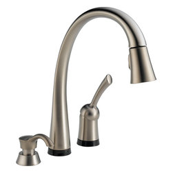 Delta Touch2O Kitchen Faucet - Delta 980T-SSSD-DST Pilar Single Handle Pull-Down Kitchen Faucet and Soap Dispenser with Touch2O®and Diamond Seal Technology in Stainless