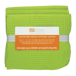 MU Kitchen Grass Waffle Microfiber Dishcloth - These beautiful MU kitchen waffle microfiber towels are made from the revolutionary microfiber  a specially designed cloth that is woven in a unique pattern from polyester fibers that create tiny scoops that suck up dirt and attract micro-particles. Microfiber is softer than silk and stronger than cotton. The cloth is so well crafted  it renders harsh cleaning chemicals entirely unnecessary.Product Features                      Set of 3 - 12 x 12 in. dish towels           Waffle microfiber          Extremely absorbent and quick drying          Lint free and amazingly soft          Clean and polish wet or dry          Reduces bacteria growth with quick drying time          Finished with a hanging loop for convenience