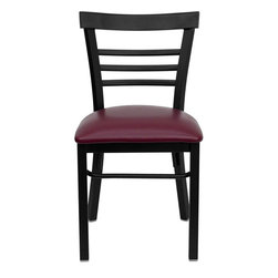"""Flash Furniture - HERCULES Series Black Ladder Back Metal Restaurant Chair - Burgundy Vinyl Seat - Provide your customers with the ultimate dining experience by offering great food, service and attractive furnishings. This heavy duty commercial metal chair is ideal for Restaurants, Hotels, Bars, Lounges, and in the Home. Whether you are setting up a new facility or in need of a upgrade this attractive chair will complement any environment. This metal chair is lightweight and will make it easy to move around. For added comfort this chair is comfortably padded in vinyl upholstery. This easy to clean chair will complement any environment to fill the void in your decor.; Heavy Duty Metal Restaurant Chair; Ladder Style Back; Burgundy Vinyl Upholstered Seat; 2.5"""" Thick 1.4 Density Foam Padded Seat; 18 Gauge Steel Frame; Welded Joint Assembly; Curved Support Bar; Black Powder Coated Frame Finish; Plastic Floor Glides; Designed for Commercial Use; Suitable for Home Use; Assembly Required: Yes; Country of Origin: China; Warranty: 2 Years; Weight: 24 lbs.; Dimensions: 31.75""""H x 17""""W x 19.5""""D"""