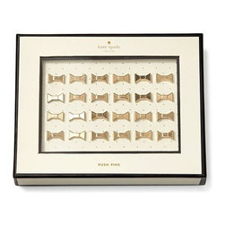 Kate Spade - Kate Spade Bow Pushpins, Set of 24 - We all know a well placed bow makes everything better. Our kate spade new york Bow Push Pins bring instant cute to an ordinary office corkboard.