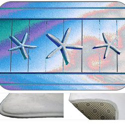 Silver Stars Plush Bath Mat, 30X20 - Bath mats from my original art and designs. Super soft plush fabric with a non skid backing. Eco friendly water base dyes that will not fade or alter the texture of the fabric. Washable 100 % polyester and mold resistant. Great for the bath room or anywhere in the home. At 1/2 inch thick our mats are softer and more plush than the typical comfort mats.Your toes will love you.