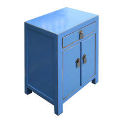Golden Lotus - ightstand End Table Chinese Blue Lacquer Moon Face Cabinet - This is a Chinese blue lacquer nightstand end table which is made of solid elm wood.  The front of cabinet has Chinese moon face design on it.