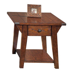 Liberty Furniture - Liberty Furniture Cabin Fever 28x24 Rectangular Drawer End Table in Brown - Enjoy the rustic look of the traditional style in your living room with end table. A drawer keeps remote controls and other essentials easy to reach but out of sight. The spacious lower shelf offers great storage and display space next to a sofa or chair for books, decorative accents, and more. Appealing details to complete the accent end table's look include a plank oak top with pewter end caps at the corner. What's included: End Table (1).