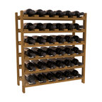 36 Bottle Stackable Wine Rack in Redwood with Oak Stain - A pair of discounted wine racks allow double wine storage at a low price. This rack accommodates all 750ml bottles, Pinots and Champagnes. The quintessential DIY wine rack kit. Your satisfaction is guaranteed.