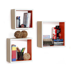 Blancho Bedding - [Rosy Symphony]Square Leather Wall Shelf / Bookshelf / Floating Shelf (Set of 3) - These square wall cube shelves add a new and refreshing element to your room and can be easily combined with other pieces to create a customized wall space. Coming in various colors and sizes, they spice up your home's decor, add versatility, and create a whole new range of storage spaces. You can hang them on the wall, or have them stand on table or floor, any way you like. Perfect for wall mounting, these modern display floating shelves are sure to delight. Constructed from MDF with a top faux leather wrapping. Fashion forward design has never been so functional. This range of faux leather storage cubes is sure to delight! Easy to mount, easy to love! Attractive shelf boxes give any wall in your home a striking appearance. Arrange in whatever fashion you like - whether it be grouped together or displayed separately. Each box serves as a practical shelf, as well as a great wall decoration.