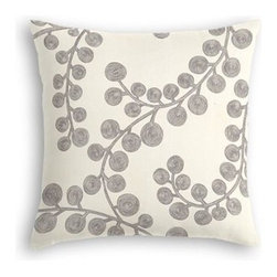 Dark Silver Metallic Swirl Branch Custom Throw Pillow - The every-style accent pillow: this Simple Throw Pillow works in any space.  Perfectly cut to be extra fluffy, you'll not only love admiring it from afar but snuggling up to it too! We love it in this stunning swirling branch pattern hand printed in metallic pewter gray on cream cotton. A fresh centerpiece to any style room, from contemporary to classic.