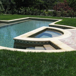 Carmel Cream Limestone - Carmel Cream Limestone Pool Coping - Tumbled Finish