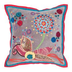 """Brown Red Crocheted Applique 18"""" x 18"""" Pillow  Set of 2 - *18"""" x 18"""" Pillow with Hidden Zipper"""