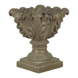 Kenroy Home - Scroll Leaf Garden Planter - Tuscan Earth Finish. 21 in. H x 21 in. DiameterWith wonderful shape and texture, this scroll leaf planter combines fired earth and rustic simplicity in a dark tuscan earth finish.   Indoors or out, this decorative ornament is sure to be a welcome addition to any decor.