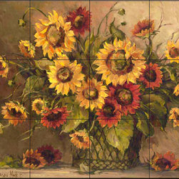 The Tile Mural Store (USA) - Tile Mural - Bm - Sunflower Bouquet - Kitchen Backsplash Ideas - This beautiful artwork by Barbara Mock has been digitally reproduced for tiles and depicts colorful sunflowers.  With our enormous selection of tile murals of plants and flowers you can bring your kitchen backsplash tile project to life. A decorative tile mural with plants and flowers is an impressive kitchen backsplash idea and decorative flower tiles also work great in the bathroom. Add splashes of color and life to your tile project with images of flowers on tiles and tiles with pictures of plants.