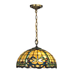 Dale Tiffany - Dale Tiffany TH12234 Cabrini 1 Light Pendants in Antique Brass - Tiffany's signature dragonfly in shimmering iridescent blue, green and yellow is the star of our Cabrini lighting series. The shade on this elegant pendant fixture features a background of warm amber art glass. 4 inverted dragonflies are nestled amidst a ribbon border in shades of dark blue, light blue and green. The border is enhanced with a fleur de lis pattern, accented with red art glass and multicolored art glass jewels. The shade hangs from a metal canopy, vase cap and chain, all finished, in rich antique brass. a graceful touch over a formal dining area, this hanging pendant fixture is also lovely over a favorite reading chair. Destined to be a cherished family heirloom, our Cabrini pendent will add an instant decorator flair to any room in your home.