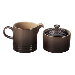 Le Creuset - Le Creuset Stoneware Cream and Sugar Set - Enjoy coffee, espresso and cappuccino in color with Le Creuset's new Cafe Collection. The cream and sugar set perfectly matches the rest of the collection for a consistent look. The cream pitchers precision-pour spout ensures drip-free pouring, and the sugar bowl keeps sugar or sweeteners handy.