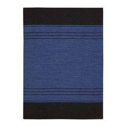 """Calvin Klein Home - Calvin Klein Home CK208 Plateau PLA04 2'3"""" x 8' Sapphire Area Rug 15998 - In shades of azure, onyx and nomadic blue this contemporary banded design is as serene as it is sophisticated. Hand loomed of wool and flat woven for an inspired texture and tone."""