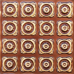"""Decorative Ceiling Tiles - Golden-Eyed Daisies - Faux Tin Ceiling Tile - Glue up - 24""""x24"""" - #118 - Find copper, tin, aluminum and more styles of real metal ceiling tiles at affordable prices . We carry a huge selection and are always adding new style to our inventory."""