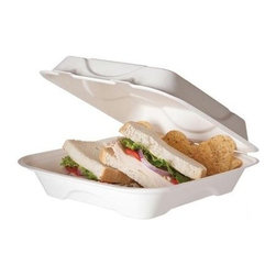 """Eco-products 9 Inch Sugarcane Clamshell - Case Of 200 - 9"""" x 9"""" x 3"""" Hinged Sugarcane Clamshell"""