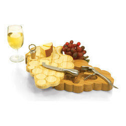 Picnic time - Grapes Cutting Board w/ tools - Swivel-style cheese board shaped like a bunch of grapes with a stainless steel cheese knife, bottle stopper and waiter-style corkscrew.